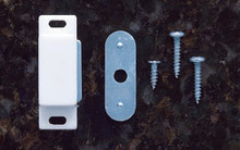 JVJ 91742 White Magnetic Catch with Strike Plate and Screws