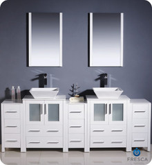 "Fresca Torino FVN62-72WH-VSL 84"" White Modern Double Sink Bathroom Vanity Cabinet w/ 3 Side Cabinets & Vessel Sinks - White"