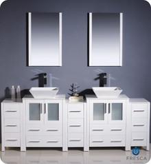 "Fresca Torino FVN62-72WH-VSL 84"" White Modern Double Sink Bathroom Vanity Cabinet w/ 3 Side Cabinets & Vessel Sinks - White"