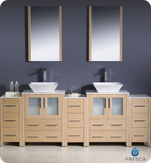 "Fresca Torino FVN62-72LO-VSL 84"" Light Oak Modern Double Sink Bathroom Vanity Cabinet w/ 3 Side Cabinets & Vessel Sinks - Light Oak"