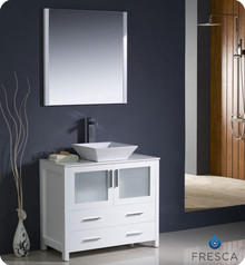 "Fresca Torino FVN6236WH-VSL 36"" White Modern Bathroom Vanity Cabinet w/ Vessel Sink - White"