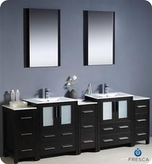 "Fresca Torino FVN62-72ES-UNS 84"" Espresso Modern Double Sink Bathroom Vanity Cabinet w/ 3 Side Cabinets & Undermount Sinks - Espresso"