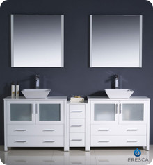 "Fresca Torino FVN62-361236WH-VSL 84"" White Modern Double Sink Bathroom Vanity Cabinet w/ Side Cabinet & Vessel Sinks - White"
