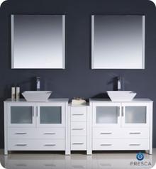 "Fresca Torino FVN62-361236WH-VSL 84"" White Modern Double Sink Bathroom Vanity Cabinet w/ Side Cabinet & Vessel Sinks - White"