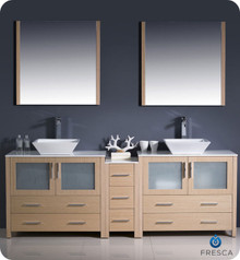 "Fresca Torino FVN62-361236LO-VSL 84"" Light Oak Modern Double Sink Bathroom Vanity Cabinet w/ Side Cabinet & Vessel Sinks - Light Oak"