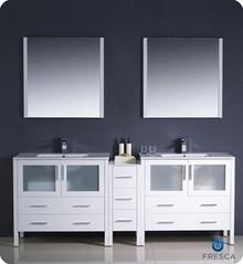 "Fresca Torino FVN62-361236WH-UNS 84"" White Modern Double Sink Bathroom Vanity Cabinet w/ Side Cabinet & Undermount Sinks - White"