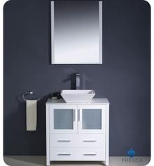 "Fresca Torino FVN6230WH-VSL 30"" White Modern Bathroom Vanity Cabinet w/ Vessel Sink - White"