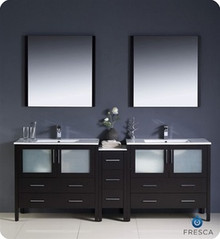 "Fresca Torino FVN62-361236ES-UNS 84"" Espresso Modern Double Sink Bathroom Vanity Cabinet w/ Side Cabinet & Undermount Sinks - Espresso"