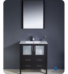 "Fresca Torino FVN6230ES-UNS 30"" Espresso Modern Bathroom Vanity Cabinet w/ Undermount Sink"