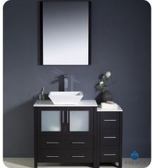 "Fresca Torino FVN62-3012ES-VSL 42"" Espresso Modern Bathroom Vanity Cabinet w/ Side Cabinet & Vessel Sink"