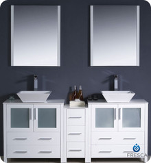"Fresca Torino FVN62-301230WH-VSL 72"" White Modern Double Sink Bathroom Vanity Cabinet w/ Side Cabinet & Vessel Sinks - White"