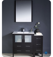 "Fresca Torino FVN62-3012ES-UNS 42"" Espresso Modern Bathroom Vanity Cabinet w/ Side Cabinet & Undermount Sink - Espresso"