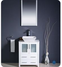 "Fresca Torino FVN6224WH-VSL 24"" White Modern Bathroom Vanity Cabinet w/ Vessel Sink & Wall Mirror"