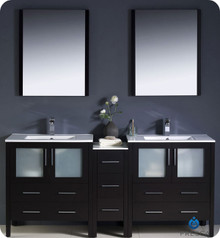 "Fresca Torino FVN62-301230ES-UNS 72"" Espresso Modern Double Sink Bathroom Vanity Cabinet w/ Side Cabinet & Undermount Sinks - Espresso"