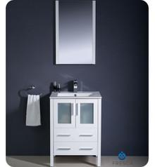 """Fresca Torino FVN6224WH-UNS 24"""" White Modern Bathroom Vanity Cabinet w/ Undermount Sink - White"""