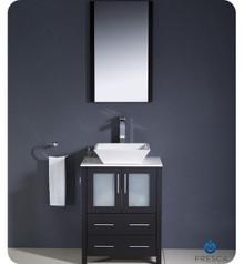 "Fresca Torino FVN6224ES-VSL 24"" Espresso Modern Bathroom Vanity Cabinet w/ Vessel Sink - Espresso"