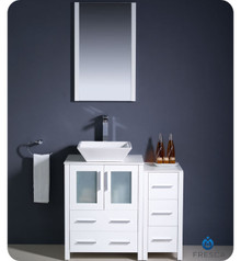 "Fresca Torino FVN62-2412WH-VSL 36"" White Modern Bathroom Vanity Cabinet w/ Side Cabinet & Vessel Sink - White"