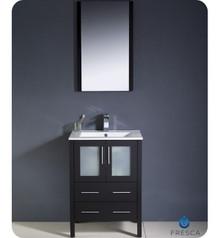 "Fresca Torino FVN6224ES-UNS 24"" Espresso Modern Bathroom Vanity Cabinet w/ Undermount Sink & Mirror - Espresso"