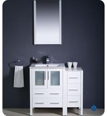 "Fresca Torino FVN62-2412WH-UNS 36"" White Modern Bathroom Vanity Cabinet w/ Side Cabinet & Undermount Sink - White"