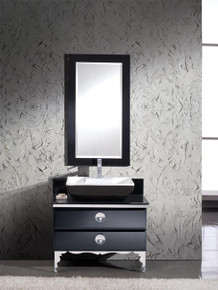 "Fresca Moselle FVN7712BL 36"" Modern Glass Bathroom Vanity Cabinet , Sink  & Mirror - Black"