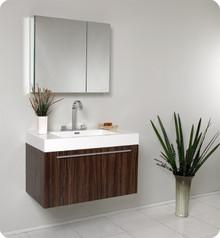 Fresca FVN8090GW Walnut Modern 35'' Bathroom Vanity Cabinet W/ Medicine Cabinet  - Walnut