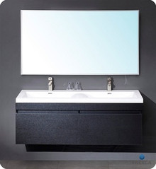 "Fresca Largo FVN8040BW 57"" Modern Bathroom Vanity Cabinet w/ Wavy Double Sinks - Black"