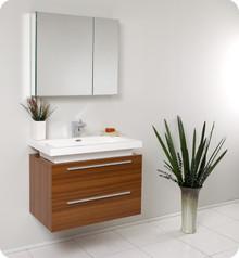 Fresca FVN8080TK Teak Modern 31'' Bathroom Vanity Cabinet W/ Medicine Cabinet  - Teak