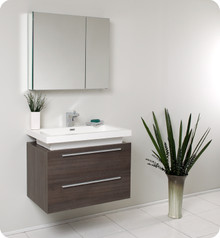 Fresca FVN8080GO Gray Oak Modern 31'' Bathroom Vanity Cabinet W/ Medicine Cabinet  - Gray Oak