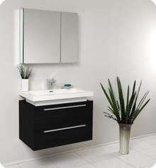 Fresca FVN8080BW Black Modern 31'' Bathroom Vanity Cabinet W/ Medicine Cabinet  - Black