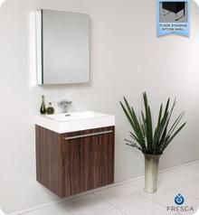 Fresca FVN8058GW Walnut Modern 23'' Bathroom Vanity Cabinet W/ Medicine Cabinet  - Walnut