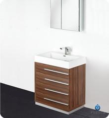 """Fresca FVN8030GW 30"""" Walnut Modern Bathroom Vanity Cabinet W/ Medicine Cabinet  - Walnut"""