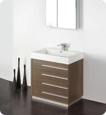 "Fresca FVN8030GO 30"" Gray Oak Modern Bathroom Vanity Cabinet W/ Medicine Cabinet  - Gray Oak"