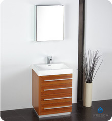 "Fresca FVN8024TK 24"" Teak Modern Bathroom Vanity Cabinet W/ Medicine Cabinet  - Teak"