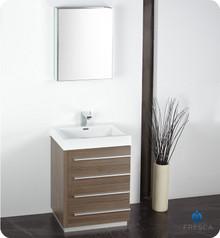 "Fresca FVN8024GO 24"" Gray Oak Modern Bathroom Vanity Cabinet W/ Medicine Cabinet  - Gray Oak"