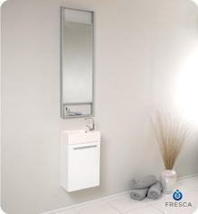 Fresca FVN8002WH Small Modern Wall Hung 15'' Bathroom Vanity Cabinet W/ Tall Mirror  - White