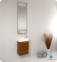 Fresca FVN8002TK Small Teak Modern Wall Hung 15'' Bathroom Vanity Cabinet W/ Tall Mirror  - Teak