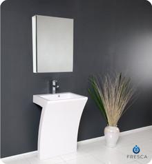 Fresca FVN5024WH Pedestal Sink Modern 22'' Bathroom Vanity W/ Faucet & Medicine Cabinet - White
