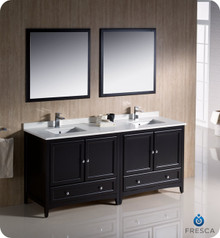 "Fresca FVN20-3636ES 72"" Espresso Traditional Double Sink Bathroom Vanity Cabinet w/ 2 Mirrors"