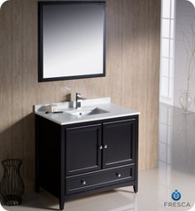 "Fresca FVN2036ES 36"" Espresso Traditional Bathroom Vanity Cabinet w/ Mirror"