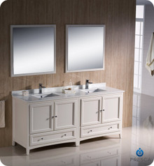"Fresca FVN20-3636AW 72"" Antique White Traditional Double Sink Bathroom Vanity Cabinet w/ 2 Mirrors"