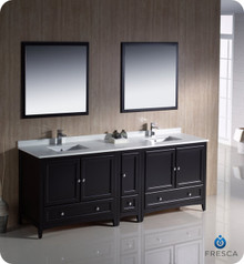 "Fresca FVN20-361236ES 84"" Espresso Traditional Double Sink Bathroom Vanity Cabinet w/ Side Cabinet & 2 Mirrors"