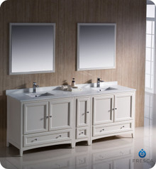 "Fresca FVN20-361236AW 84"" Antique White Traditional Double Sink Bathroom Vanity Cabinet w/ Side Cabinet & 2 Mirrors"