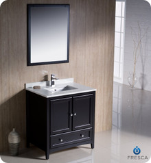 "Fresca FVN2030ES 30"" Espresso Traditional Bathroom Vanity Cabinet w/ Mirror"