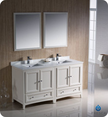 "Fresca FVN20-3030AW 60"" Antique White Traditional Double Sink Bathroom Vanity Cabinet w/ 2 Mirrors"