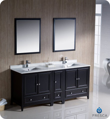 "Fresca FVN20-301230ES 72"" Espresso Traditional Double Sink Bathroom Vanity Cabinet w/ Side Cabinet & 2 Mirrors"