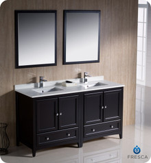 "Fresca FVN20-3030ES 60"" Espresso Traditional Double Sink Bathroom Vanity Cabinet w/ 2 Mirrors"