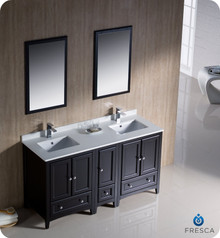 "Fresca FVN20-241224ES 60"" Espresso Traditional Double Sink Bathroom Vanity Cabinet w/ Side Cabinet & 2 Mirrors"