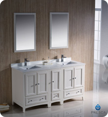 "Fresca FVN20-241224AW 60"" Antique White Traditional Double Sink Bathroom Vanity Cabinet w/ Side Cabinet & 2 Mirrors"