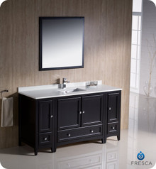 "Fresca FVN20-123612ES 60"" Espresso Traditional Bathroom Vanity Cabinet w/ 2 Side Cabinets & 1 Mirror"