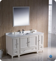 "Fresca FVN20-123612AW 60"" Antique White Traditional Bathroom Vanity Cabinet w/ 2 Side Cabinets & 1 Mirror"